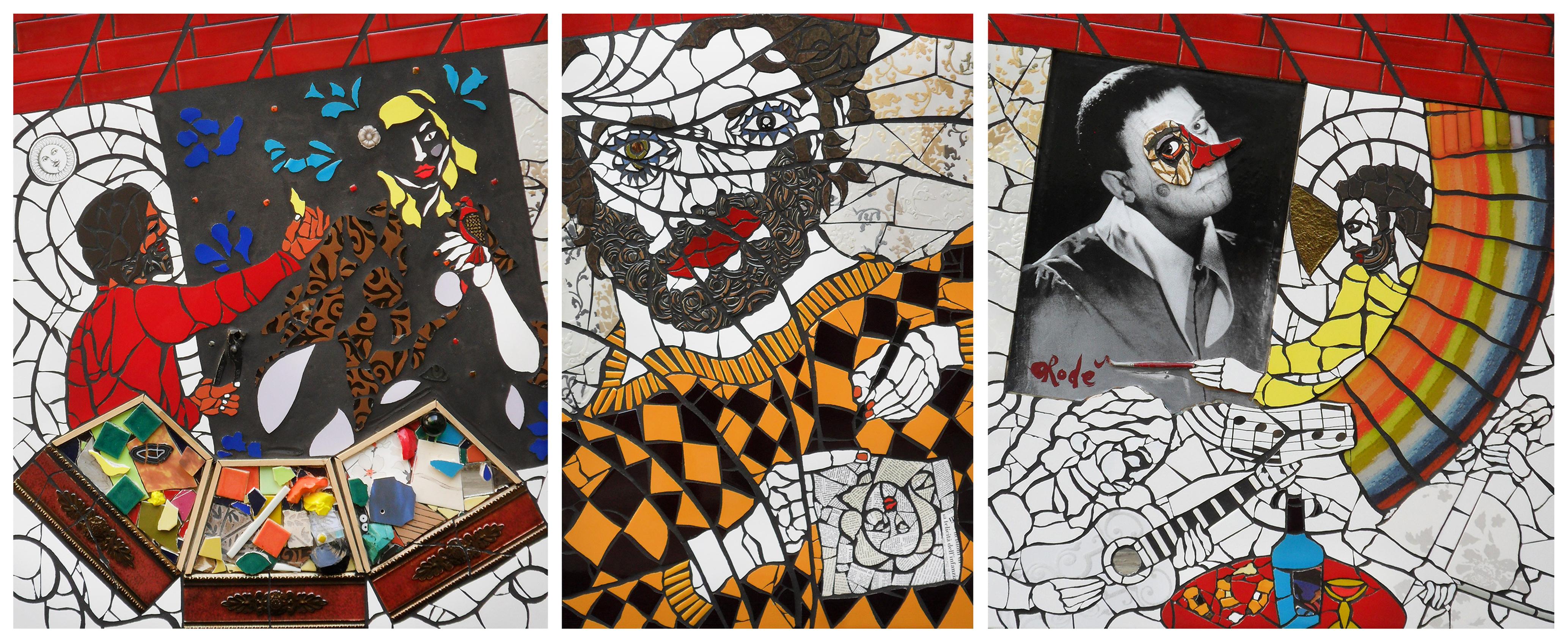 Autoritratto mentre creo. Il mio atelier-Trittico di Orodè Deoro. Metri 2,5x1. 2013