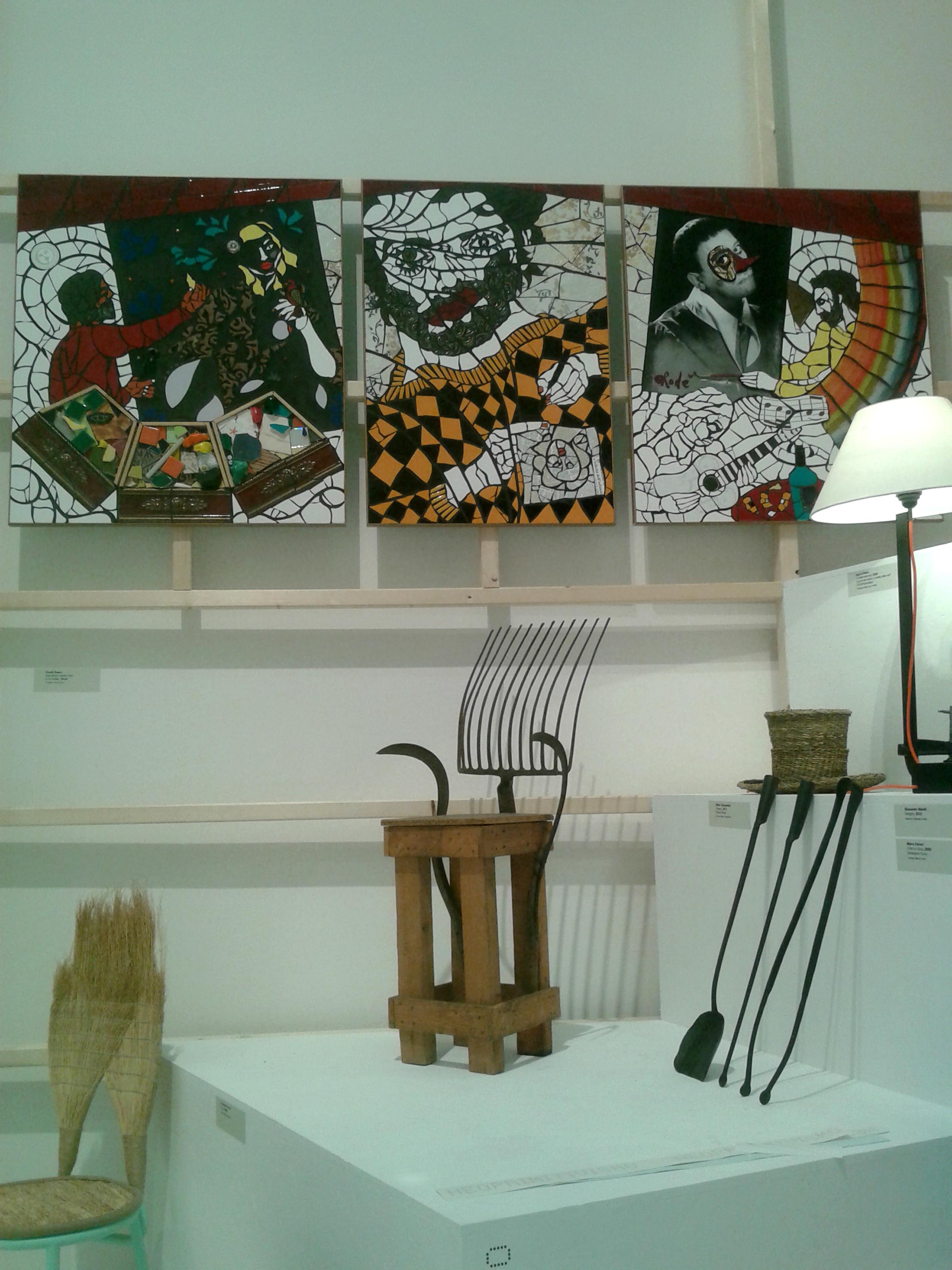 """Triennale Design Museum 2014. Trittico """"Autoritratto mentre creo. Il mio atelier. m 2,7x1. 2014"""