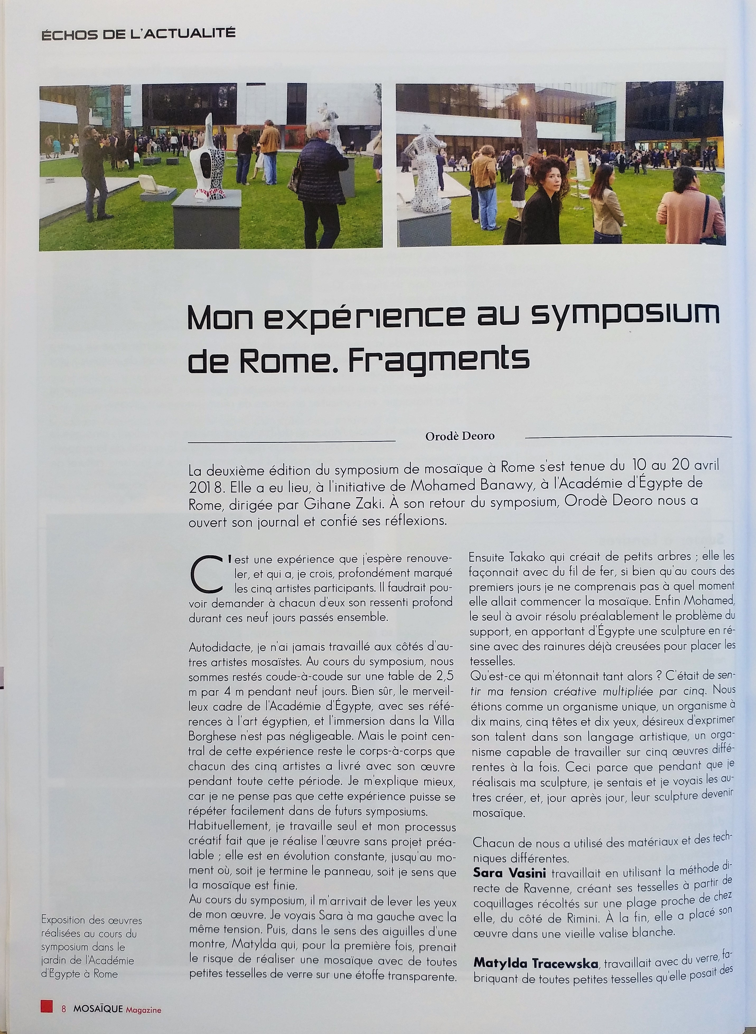 Mosaique Magazine. Ottobre 2018. Mio contributo. Pag.8